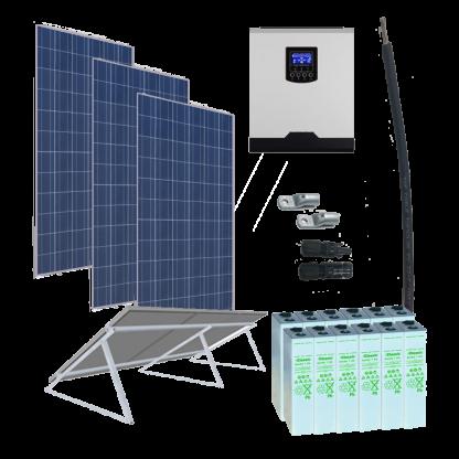 Kit solar fotovoltaico 3000Wp 24V 4800Wh