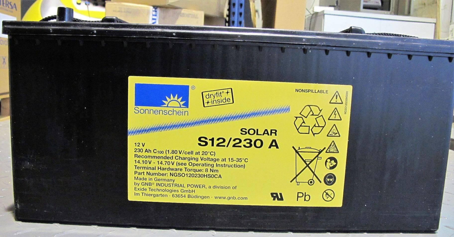 Bateria S12/230A / 230Ah C100