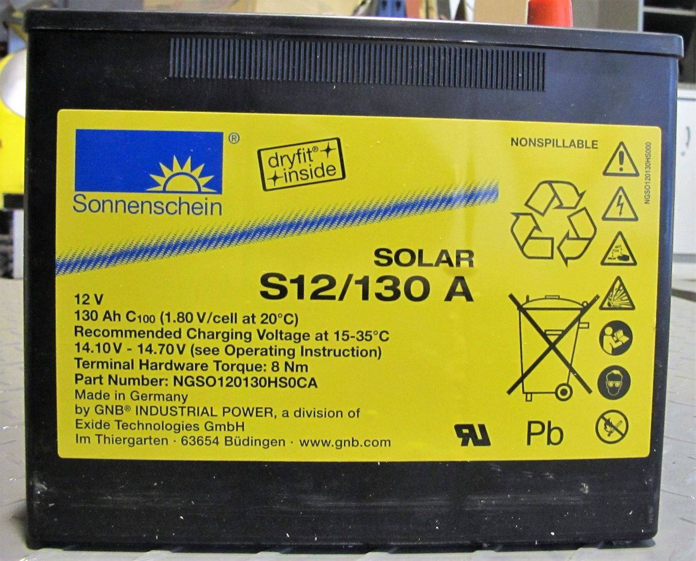 Bateria S12/130A / 130Ah C100