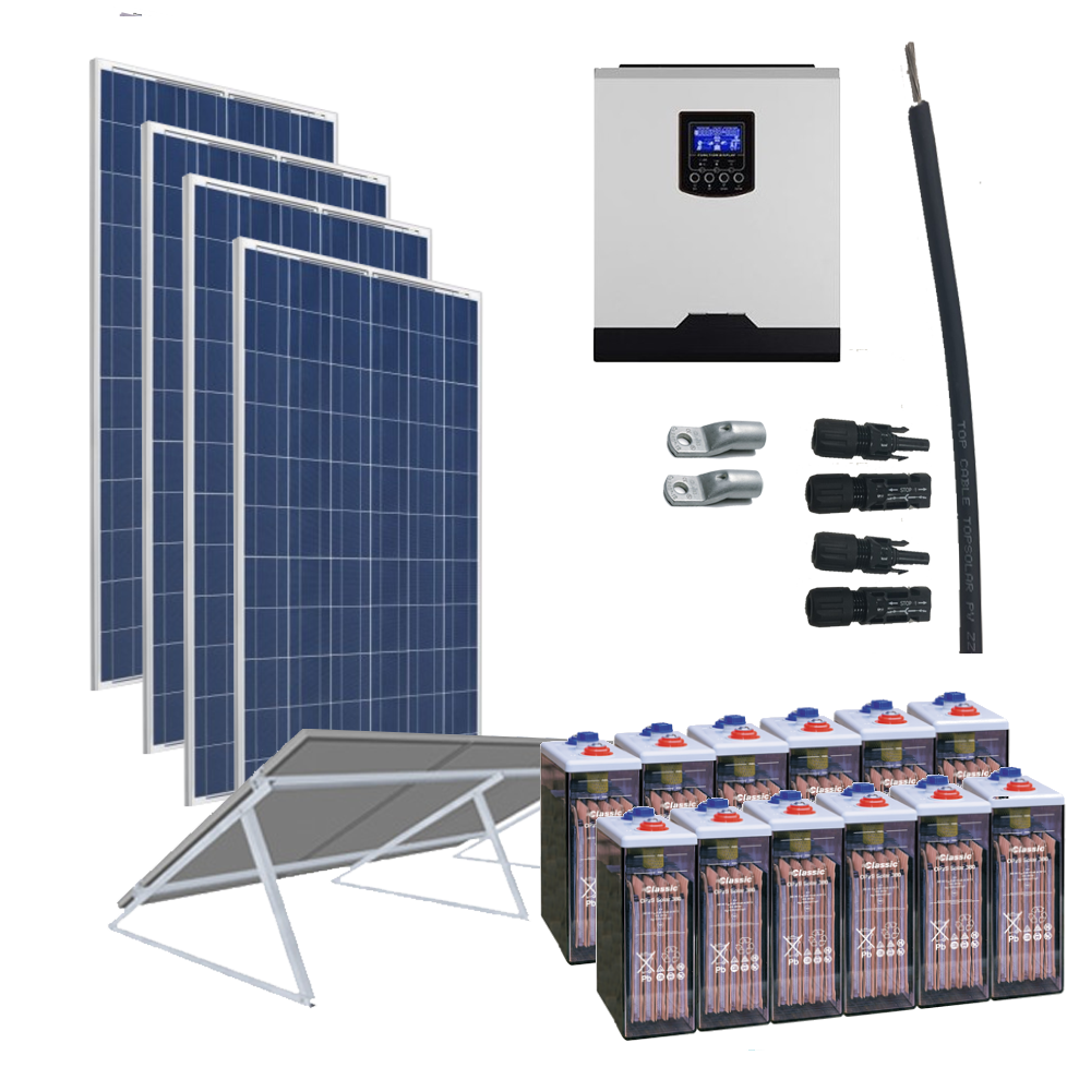 Kit Solar 3000W 24V / 6600Wh/día / 660Ah OPZS