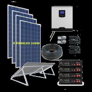 Kit Solar 5000W 48V 14625Wh/Día BATERIA LITIO - Permanente