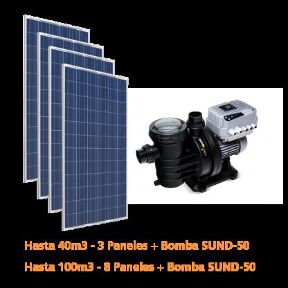 Sistema solar para depuración de piscina desde 40 a 100m3 sin controlador