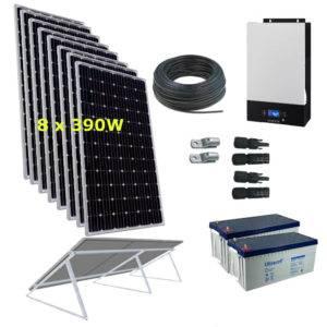 Kit Solar 3000W 24V  19500Wh/día Economy Monocristalino